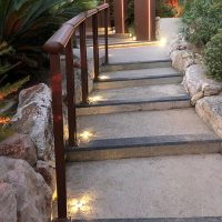 UFO embeddable spotlight stairs at Jimmyz' Monaco