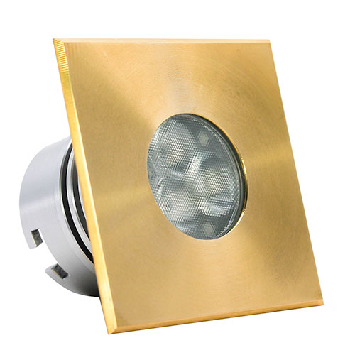 Icone square brass embeddable led spot