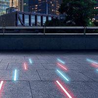Application au sol projecteur linéaire LINE en ville