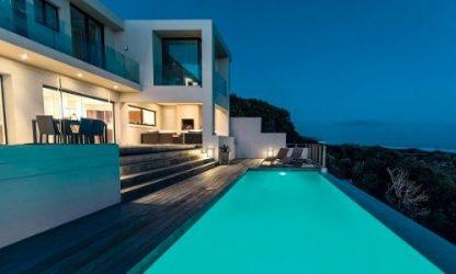 Beautiful house with stylish submersible lighting.